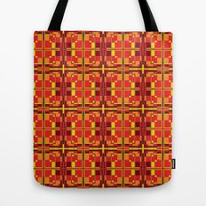 Red and Yellow Cross Pattern Tote Bag