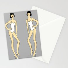 Creepy Fashion Model Twins Stationery Cards