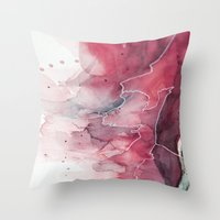 Watercolor pink & green, abstract texture Throw Pillow