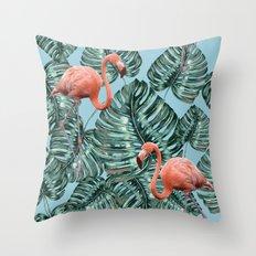 Whimsical Flamingo Pattern #society6 #decor #buyart Throw Pillow