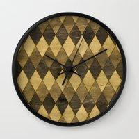 Wooden Diamonds Wall Clock