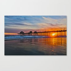 HB Sunsets - Sunset At The Huntington Beach Pier 3/10/16 Canvas Print