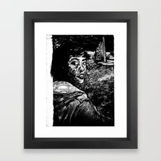 monoprint of girl Framed Art Print