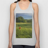 Lonely Poppies At The Fi… Unisex Tank Top