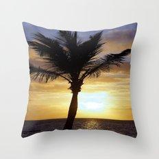 Tropical Sunrise Palm Silhouette Throw Pillow