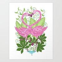 A Flamingo Love Affair Art Print