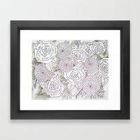 Floral Doodles in Gray Framed Art Print