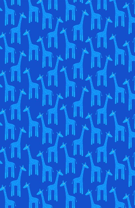 Giraffes-Blue Art Print