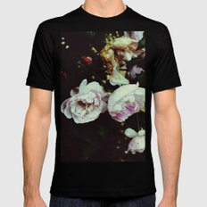 Pink flowers Mens Fitted Tee Black SMALL