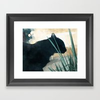 Skelly Cat In The Grass Framed Art Print
