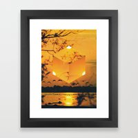 Hexagon Sunset Framed Art Print