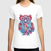 SPIRO OWL Womens Fitted Tee White SMALL