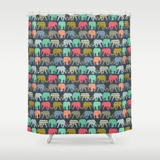 baby elephants and flamingos Shower Curtain