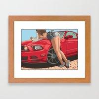 Girl & Car II Framed Art Print