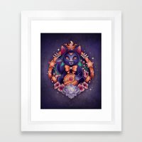 Maneki Luna Framed Art Print