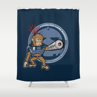 Automated Laser Monkey Shower Curtain