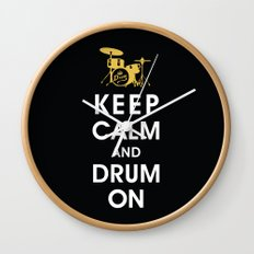 Keep Calm and Drum On  Wall Clock