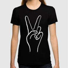 Peace Out Womens Fitted Tee Black SMALL