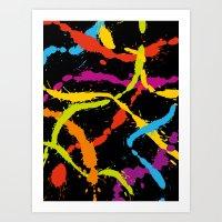 Splattered Rainbow [BLACK] Art Print