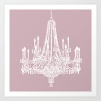 Chic White and Pink Chandelier   Art Print