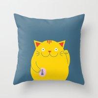 Maneki Neko Throw Pillow