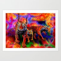 Psychedelic Tigers Art Print