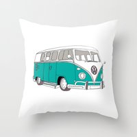 Blue Volkswagen Camper V… Throw Pillow