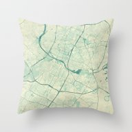 Austin Map Blue Vintage Throw Pillow