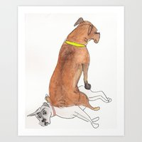 Dogsitting Art Print