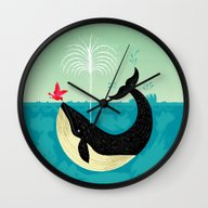 Wall Clock featuring The Bird And The Whale by Oliver Lake