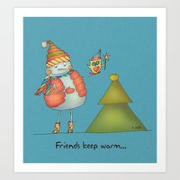 Friends Keep Warm Art Print