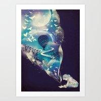 skull Art Prints featuring Dream Big by dan elijah g. fajardo