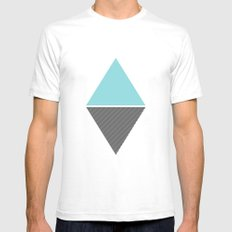 MODERN TRIANGLES White Mens Fitted Tee SMALL