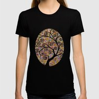 Abstract tree-11 Womens Fitted Tee Black SMALL