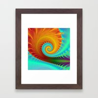 Toothed Spiral In Turquo… Framed Art Print