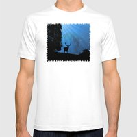 Moon & Deer - JUSTART © Mens Fitted Tee White SMALL