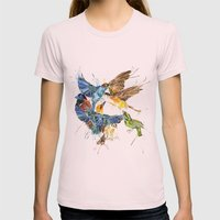 Birds Galore Womens Fitted Tee Light Pink SMALL
