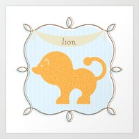 Fun At The Zoo: Lion Art Print