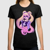 Pastel Goth Usagi (Glass… Womens Fitted Tee Tri-Black SMALL