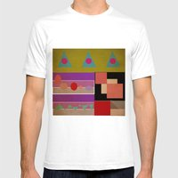 geometric Mens Fitted Tee White SMALL