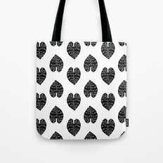 Leaf tropical linocut blockprinted stamp leaves black and white minimal modern pattern art print Tote Bag