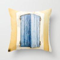 Blue Wooden Shutter In Y… Throw Pillow