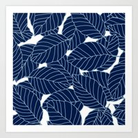 Sweet leafs:  Navy Art Print