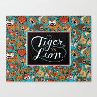 Tiger VS. Lion Canvas Print