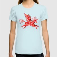 Extremely hearty unicorn pegasus Womens Fitted Tee Light Blue SMALL