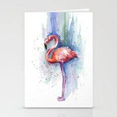 Pink Flamingo Watercolor Painting Stationery Cards