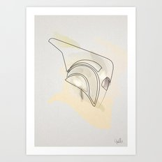 one line helmet:Rocketeer Art Print