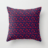 Red stars on bold blue background illustration Throw Pillow