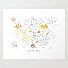 Neverland Map Color Art Print
