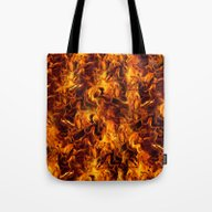 Tote Bag featuring Fire And Flames Pattern by Gravityx9